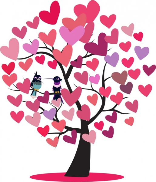hearts_tree_icon_woodpeckers_couple_decoration_6830259